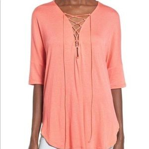 Lush Lace-up tee Coral M